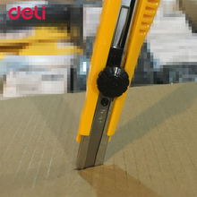 Deli Hot Sale 2017 New knife For School and Office Stationery Tools Blue Yellow Colours Paper Cutter Art Knife(China)