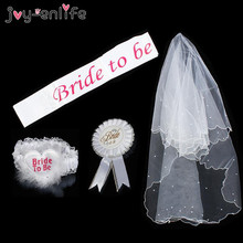 JOY-ENLIFE 1Set Wedding Bride To Be Rosette Mantilla Badge Sash Garter Wedding Hen Party Bride Bachelorette Party Gifts(China)