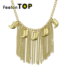 Maxyum Autumn And Winter Sweater Chain NecklaceNew Inspiration Design Gold-Color  Tassel Short Necklace