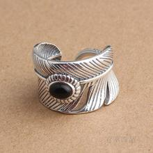 S925 silver silver Thailand imported hand inlaid natural Black Onyx Ring retro punk male feather opening