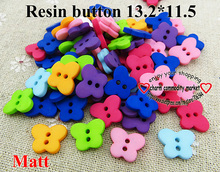 100PCS dull polish butterfly resin button brand mixed buttons  for KIDS clothes fits jewelry charms R-238