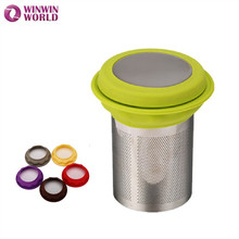 Stainless Steel Tea Strainer mesh Colander Net For Cooking Kitchen With Silicone And Metal Lid 304 Tea Infuser Kitchenware(China)