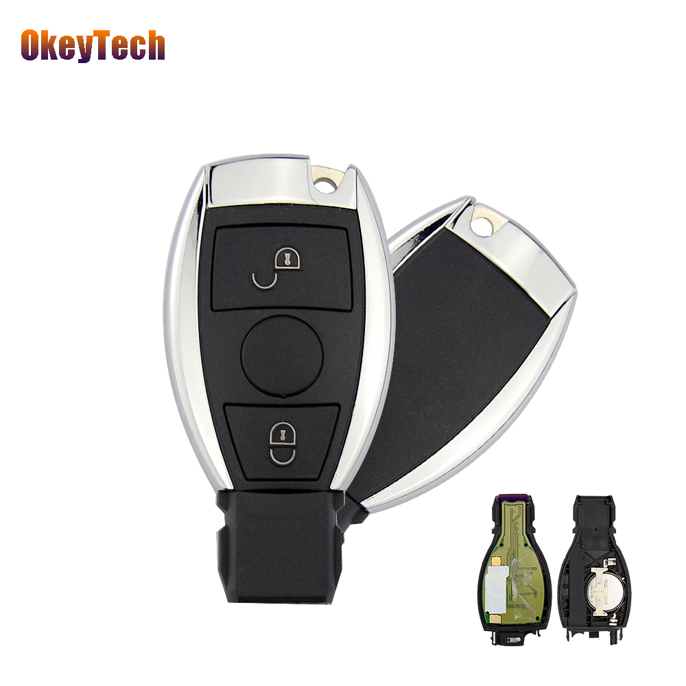 OkeyTech Benz Remote Control Car Key 315/433Mhz 2 Buttons Keyless Entry Replacement Mercedes BENZ 2000+with Insert Blade