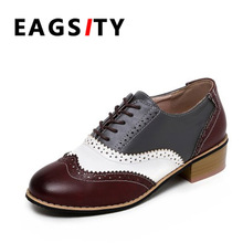 mixed color oxfords shoes women brogue fashion flats lady loafers student lace up round toe casual shoes