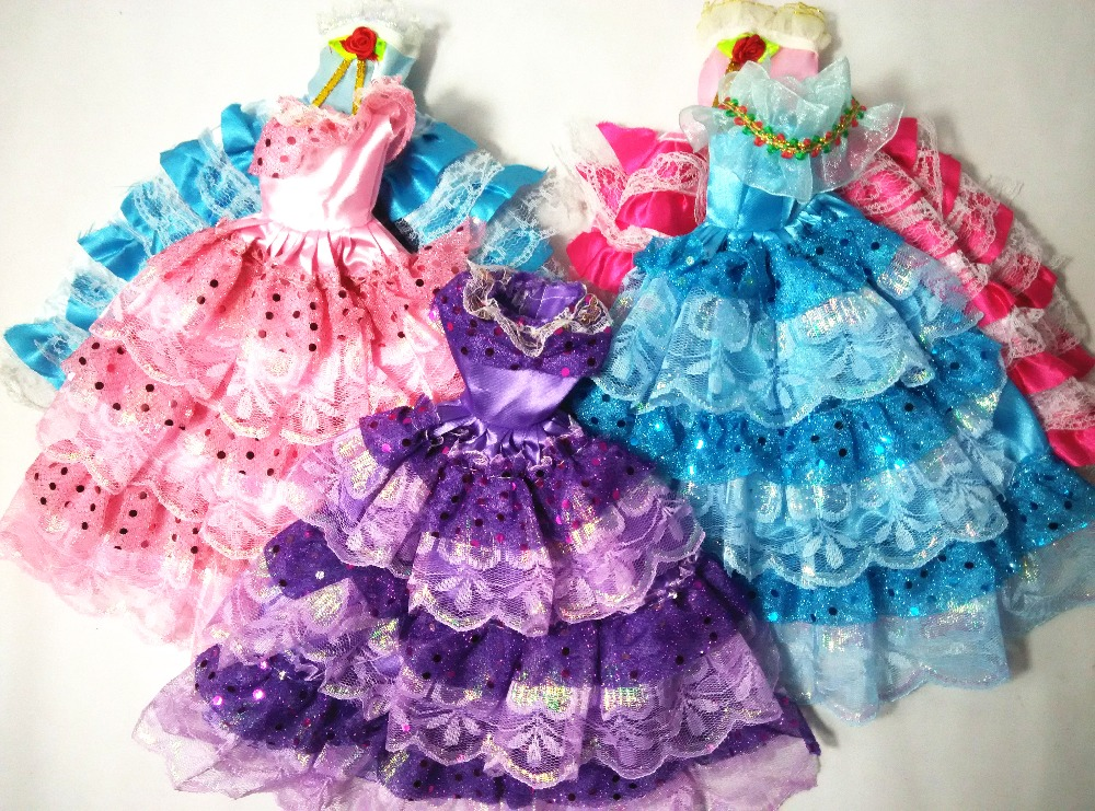 2016 New Child Toys Women Present Doll Gown Authentic Doll Garments Lovely Handmade Celebration Outfit Vogue Gown For Barbie Doll