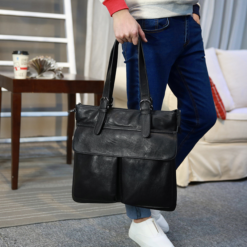 New Casual Men PU Leather Shoulder Bags Fashion Soft Leather Handbags Men Portable Briefcase 14-inch Laptop Bag Free shipping<br><br>Aliexpress