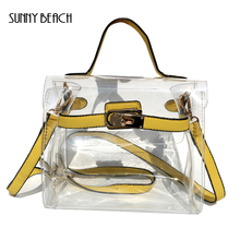 SUNNY BEACH Beach Bag Composite Clear Bag Women Handbag Fun PVC Crossbody Messenger Bag Brand Designer Tote Bag(China)
