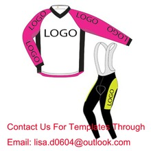 Free Shipping Custom Long Sleeve Cycling Jersey And Bib Pants Customize Windproof  Winter Fleece Bike Clothing,Min Order 1