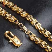 GNIMEGIL Fashion Byzantine Box Chain Necklace Mens Gold Color Round Chain Necklace Personalized Boys Men's Jewelry Gift