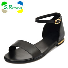 S.Romance Genuine Leather Women Sandals Plus Size 34-43 Fashion Flats  Sandals Casual Buckle Strap Woman Shoes Black Gold SS769 cba7835b3ccb