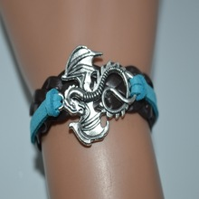 Blue Brown Multilayer Leather Suede Custom Charm Bracelet Bangles Alibaba Express Hot Selling Women Men Dragon New Gifts Jewelry