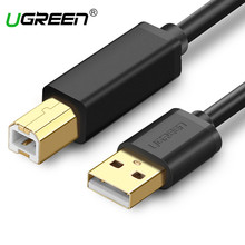 Ugreen USB Printer Cable Type A Male to B Male Scanner Gold USB 3.0 2.0 Print Cable for Canon Epson HP Printer Cable USB 3.0(China)