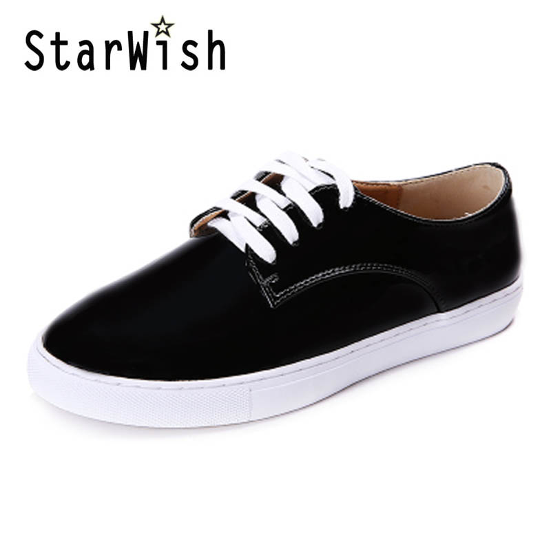 New Women Flats For Spring Autumn Lace up Platform Shoes Woman Casual Style Round Toe Flat Shoes White Black Plus Size 34-41 D68<br><br>Aliexpress
