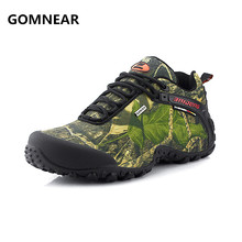 GOMNEAR waterproof canvas hiking shoes For Men Anti-skid Wear resistant breathable fishing camping climbing rubber sole shoes(China)