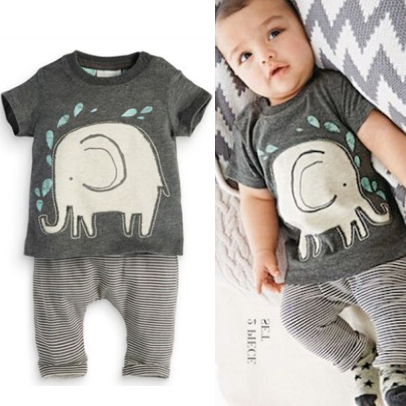 Hot Sales Toddlers Baby Boys Suits Elephant Print Tops Shirt + Long Pants Outfits Infant Clothes 2PCS<br><br>Aliexpress