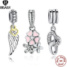 Genuine 925 Sterling Silver Feather Heart ,Poetic Blooms Charms Pendant fit Original Pandora Charms Bracelet DIY Jewelry Making