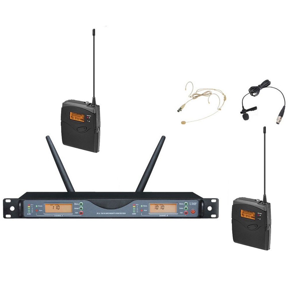 Professional headset microphone for concert stage church Touring club RU24D&4D 770-820Mhz uhf wireless microphone system 2x100Ch