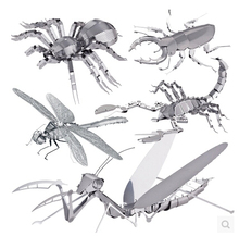 Creative 3D metal puzzles miniature  jigsaw puzzles DIY metal jigsaw puzzle animals rhinoceros beetle toys for children