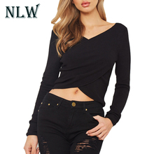 NLW Sexy Crop Wrap V Neck Women Black Sweater Knitted Pullovers Criss-Cross Short Autumn Jumper 2017 Winter Sweaters Shirt Tops(China)