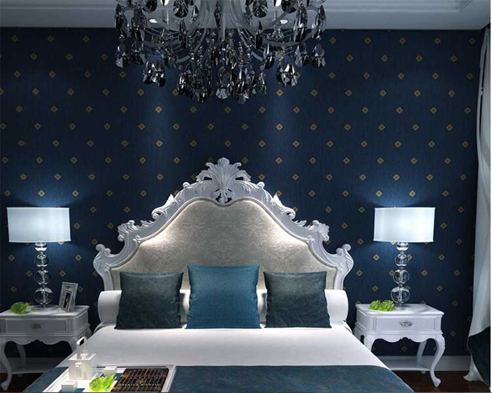 beibehang Simple nonwovens wall paper bedroom living room TV background papel de parede green dark blue diamond 3d wallpaper<br>