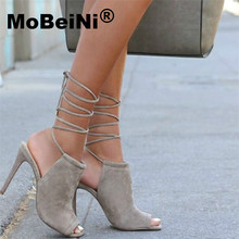 MoBeiNi Spring summer nude heels gladiator sandals women Sexy ankle strap heels up pumps Pointed high heels shoes pumps women(China)