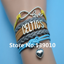 Infinity Love Celtics Heart Bracelet Gray Brown Yellow Blue Leather Suede Rope Customize Women Men Basketball Team Sports Bangle(China)