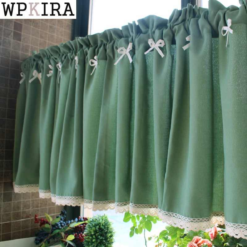 Blue Small Plaid Curtains With Lace Cafe Curtains Kitchen Short Curtain Semi-shade Small Short Curtain Fashion A050&20