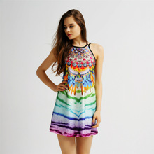 Colorful gradient tiger pattern 3D digital print halter straps sexy nightclub dress(China)