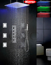 Bathroom Bath LED Shower Mixer Faucet Water Functions Work Together Or Separately 20 Inch 3 Colors LED Shower Head