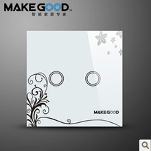 MakeGood touch switch 2 gang 1 way, crystal glass switch panel,single Fire Wire touch-sensitive wall switchwhite