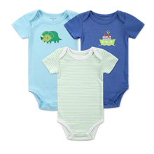 Newborn Clothes Baby Boy Bodysuits Imported Baby Short Sleeve Clothes Baby Costume 100% Cotton 3 Pcs/lot Infant Jumpsuit Carter(China)