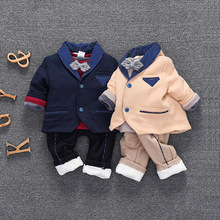 Baby Boutique Three-piece Spring Winter Babies Wedding Suits Baby Boys Spring Suit And Thick Long Pants Newborn Gift