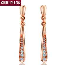 Top Quality Water Drop Crystal Rose Gold Color Fashion Earring Jewelry Made with Austrian Crystal Wholesale ZYE388 ZYE389