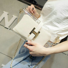 2016 New Fashion Small PVC Transparent Bag Clear Beach Bags Tote Shoulder Bag Small Crossbody Bag For Women With Lock white