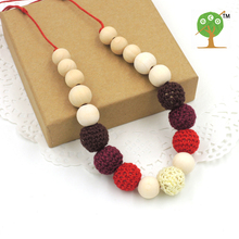 WHOLESALE Dark red, coffee cream fade color crochet beads necklace   knit ball nursing necklace NW1419