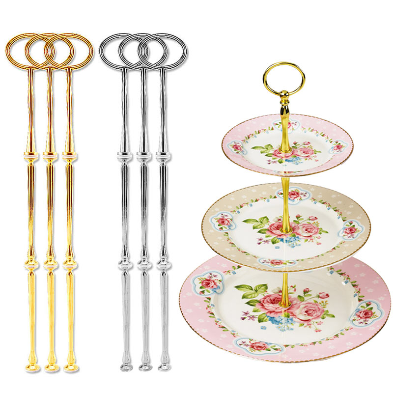 3pcs/Set Stand 3-Tier Oval Ring Top Cake Stand Cake Plate Displayer Holder Handle Fittings Homeshopping TB Sale(China (Mainland))