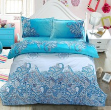 Turquoise Paisley Bedding set Comforter sets Green Blue duvet cover bed in a bag sheet linen quilt covers Queen size full 5PCS