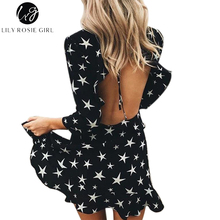 Lily Rosie Girl Sexy Hollow Out Boho Dress Lace Up Backless Ruffles 3/4 Sleeve Star Womens Dress Christmas Dress Female Vestidos