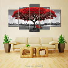 Amosi Art-5 Panels Red Tree Canvas Painting Flowers Wall Art Landscape Artwork Print on Canvas For Home Wall Decor Wooden Framed(China)