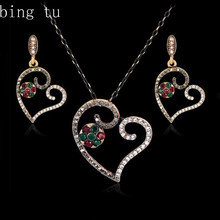 Bing Tu Punk Boho Colorful Resin Flower Jewelry Women African Costume Heart Earrings Necklace Jewellery Sets With Crystal Stone