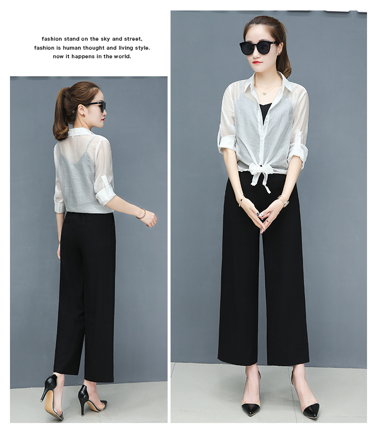 2019 Spring summer women sets office lady elegant chiffon blouse shirts+female wide leg pants trousers pantalon two piece sets 18 Online shopping Bangladesh