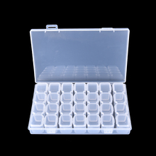 Clear Plastic 28 Slots Empty Storage Box Nail Art Rhinestone showing shelf Tools Jewelry Beads Display Case Organizer Holder
