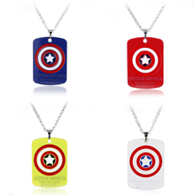 HEYu Marvel DC Comics Avengers Captain America Shield Logo Metal Necklace Dog Tags Chain Pendant Necklace Unisex Fashion Jewelry