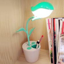 Smart 3 Mode Dimming Reading Light LED Table Lamp LED Desk Lamp Touch Switch Pen Container Art Decoration USB Rechageable