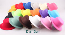 "Wholesale 12pcs/lot 5.2""(13cm) 18 Color Solid Flat Miini Top Fascinator Clip  Children Party Hats Hair Clip DIY Hair Accessories"