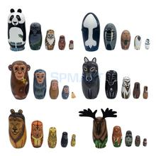 11 style 5PCS/Set Wooden Russian Nesting Dolls Hand Painted Animals Babushka Matryoshka Doll Toys for Kids Children Gifts