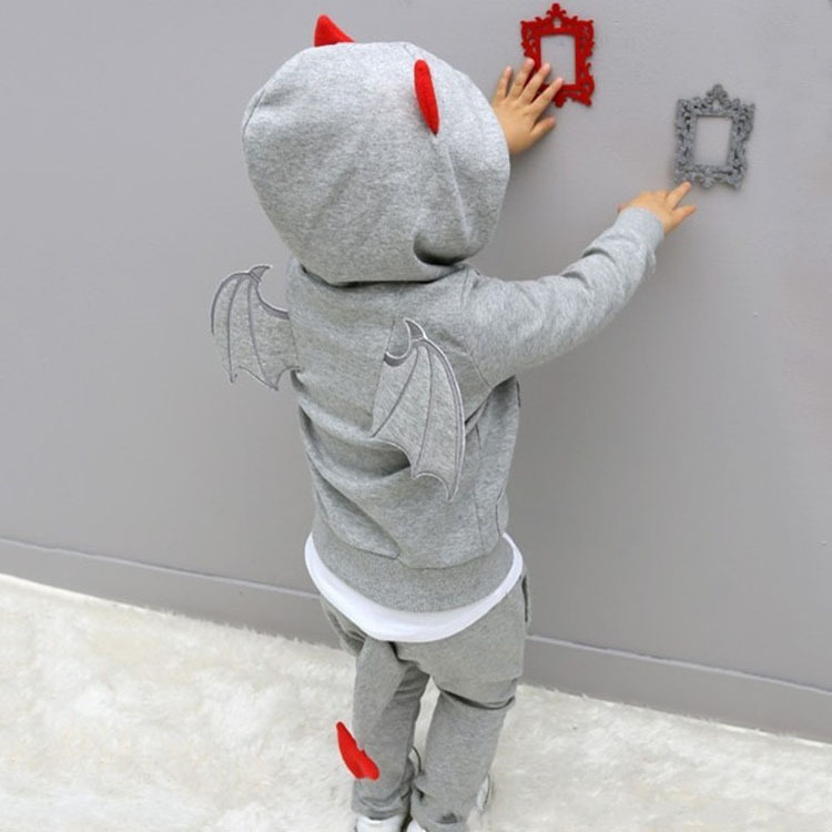 baby boys clothes 2016 New Autumn Casual Long Sleeve sport suit children sets Cartoon little devil clothing sets Halloween gifts(China (Mainland))