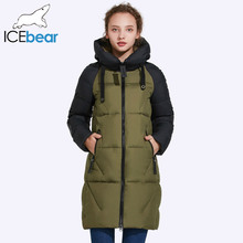ICEbear 2017 New Women Winter Jacket Hooded Jacket Women Contrast Color Mid-Long New Women's Cotton Coat To Knee 17G637D