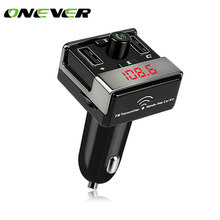 Onever Car Bluetooth FM Transmitters Handsfree Car Kit FM Radio Car MP3 Player TF U Disk 2 USB Car Charger LED Display DC 12-24V(China)