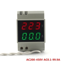 DIN Rail Dual Voltmeter Ammeter AC200-450V LED Display Digital AC AC0.1-99.9A Test Three Phase Voltage Volt Amp Meter